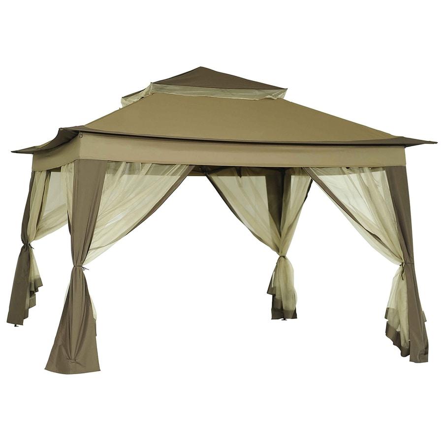 Sunjoy Portia Beige Steel Square Pop-Up Gazebo (Exterior: 10.8-ft x 10.8-ft; Foundation: 10.8-ft x 10.8-ft)