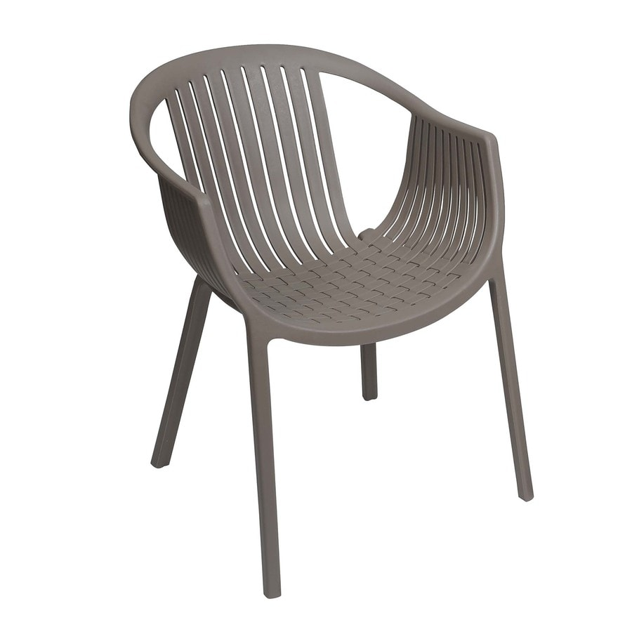 Shop sunjoy taupe plastic stackable patio dining chair at for Stackable outdoor dining chairs