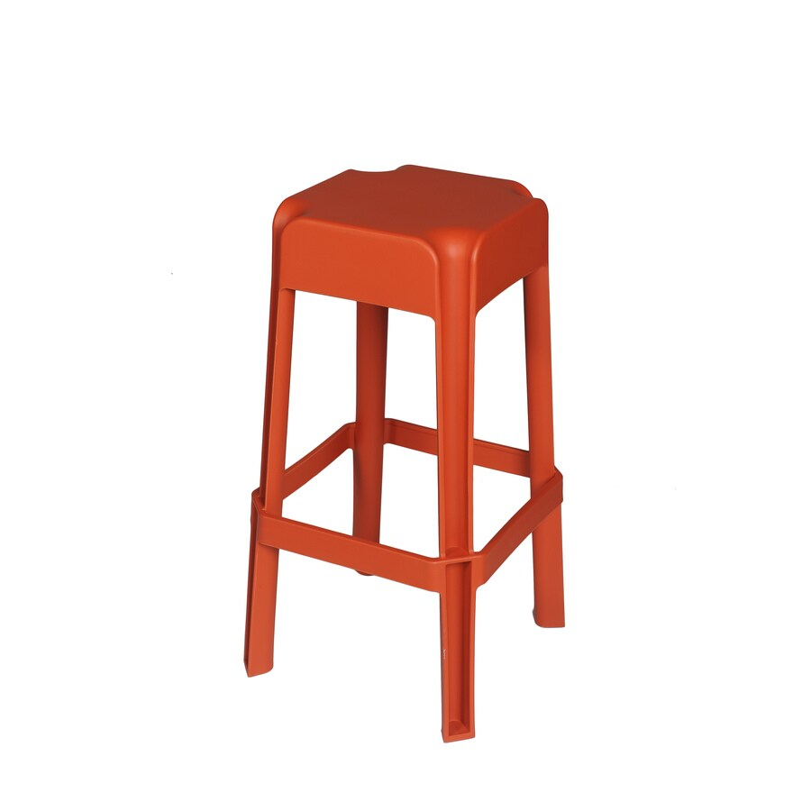 Sunjoy 2-Count Orange Plastic Stackable Patio Barstool Chairs