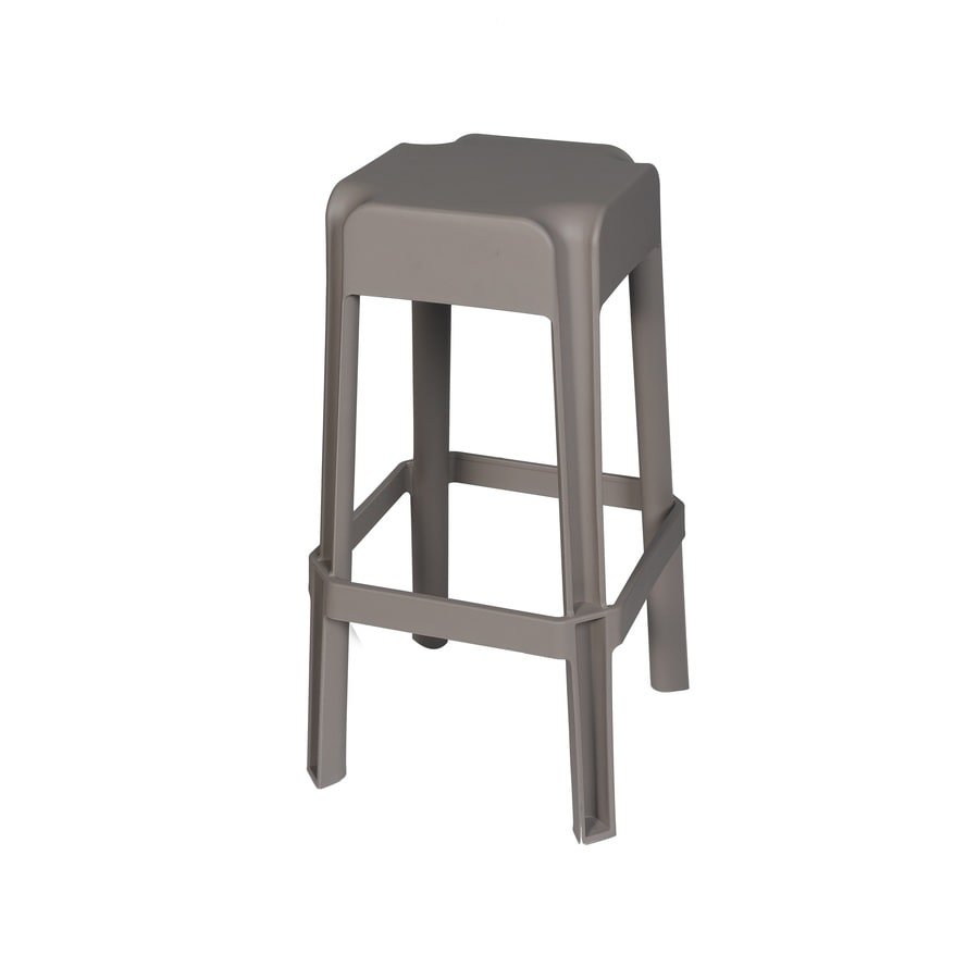 Sunjoy 2-Count Taupe Plastic Stackable Patio Bar Stool Chairs