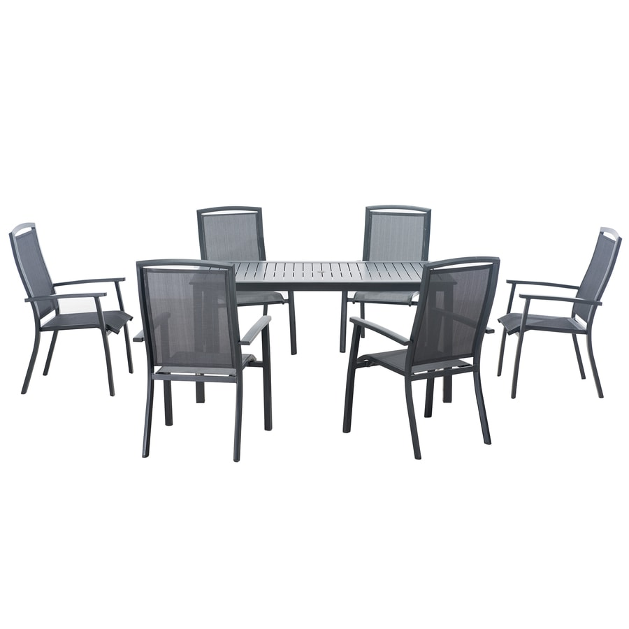 Sunjoy 7-Piece Gray Aluminum Dining Patio Dining Set