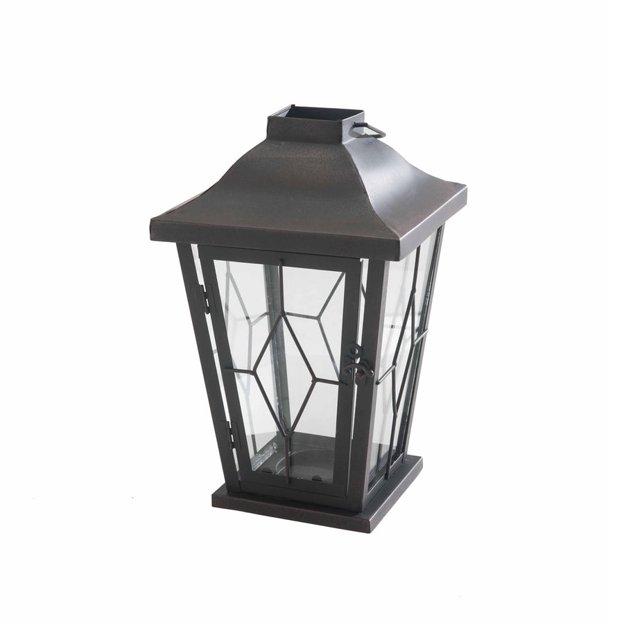 Sunjoy 8-in x 15.75-in Bronze Metal Pillar Candle Outdoor Decorative Lantern
