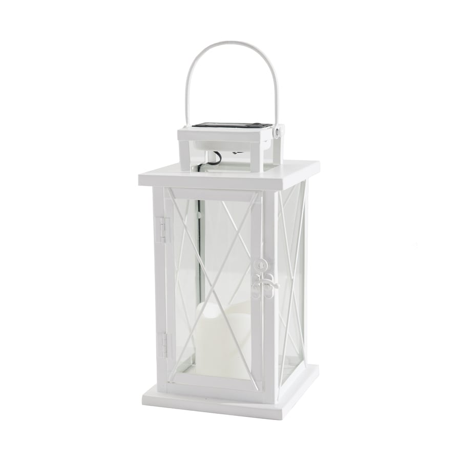 Sunjoy 7-in x 17.5-in White Metal Solar Outdoor Decorative Lantern