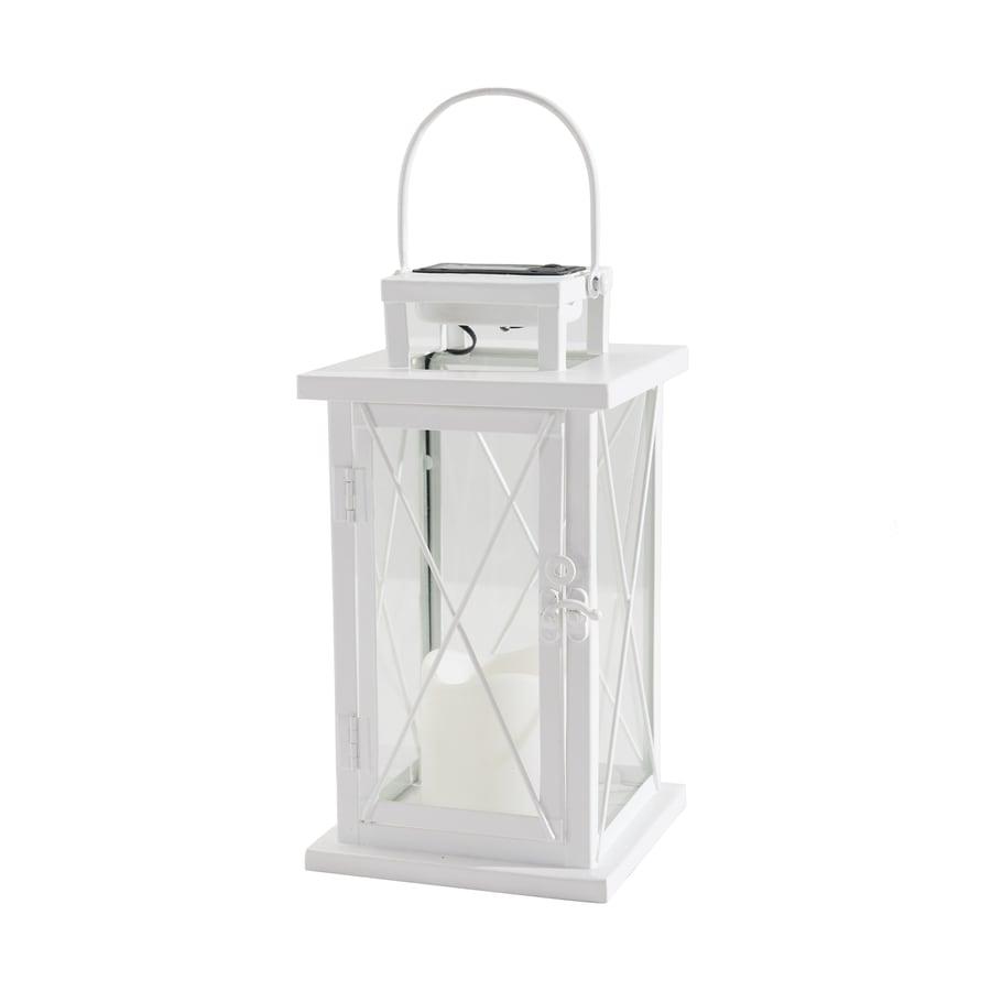 Sunjoy 5.25-in x 13.75-in White Metal Solar Outdoor Decorative Lantern