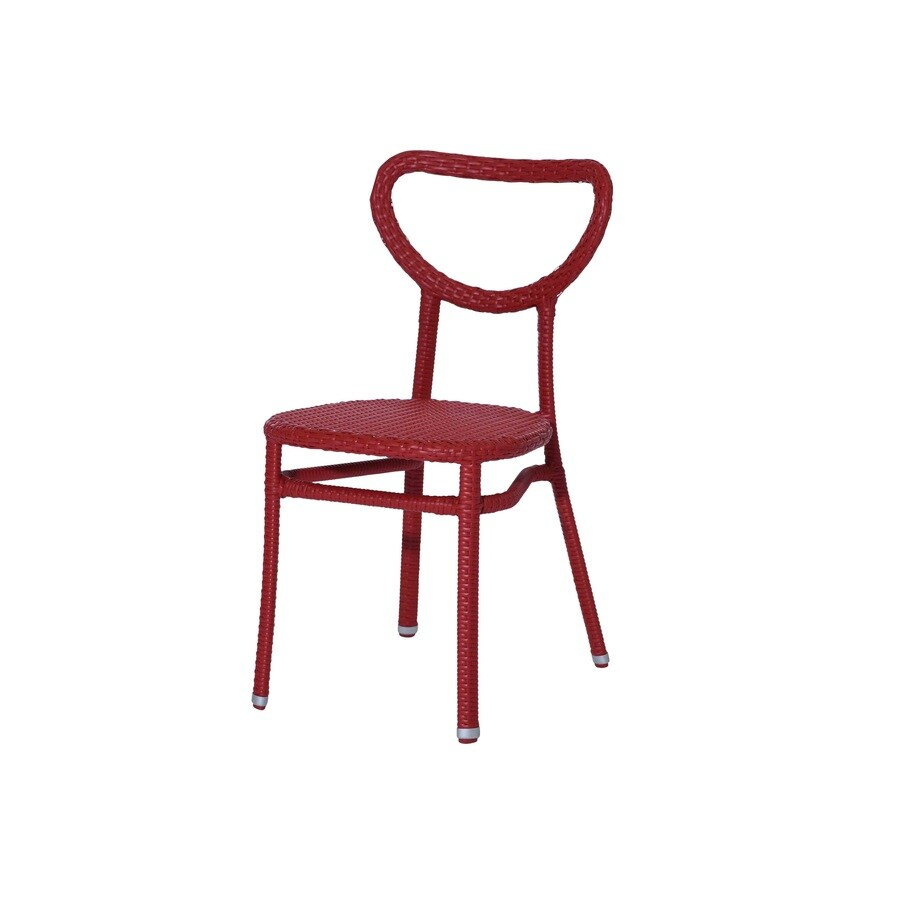 Sunjoy 4-Count Red Wicker Patio Dining Chairs