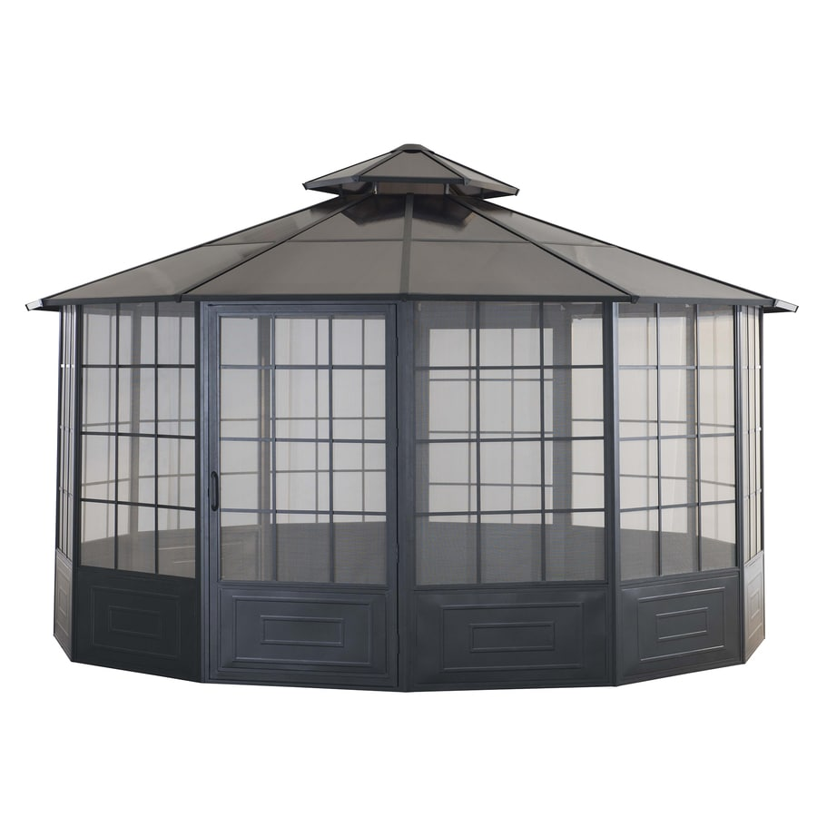 Sunjoy Allison Pavilion Black Steel Octagon Screen Included Permanent Gazebo (Exterior: 14-ft x 14-ft; Foundation: 14-ft x 14-ft)