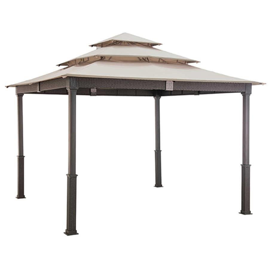 Sunjoy Brown Steel Rectangle Permanent Gazebo (Exterior: 10-ft x 10-ft; Foundation: 10-ft x 10-ft)