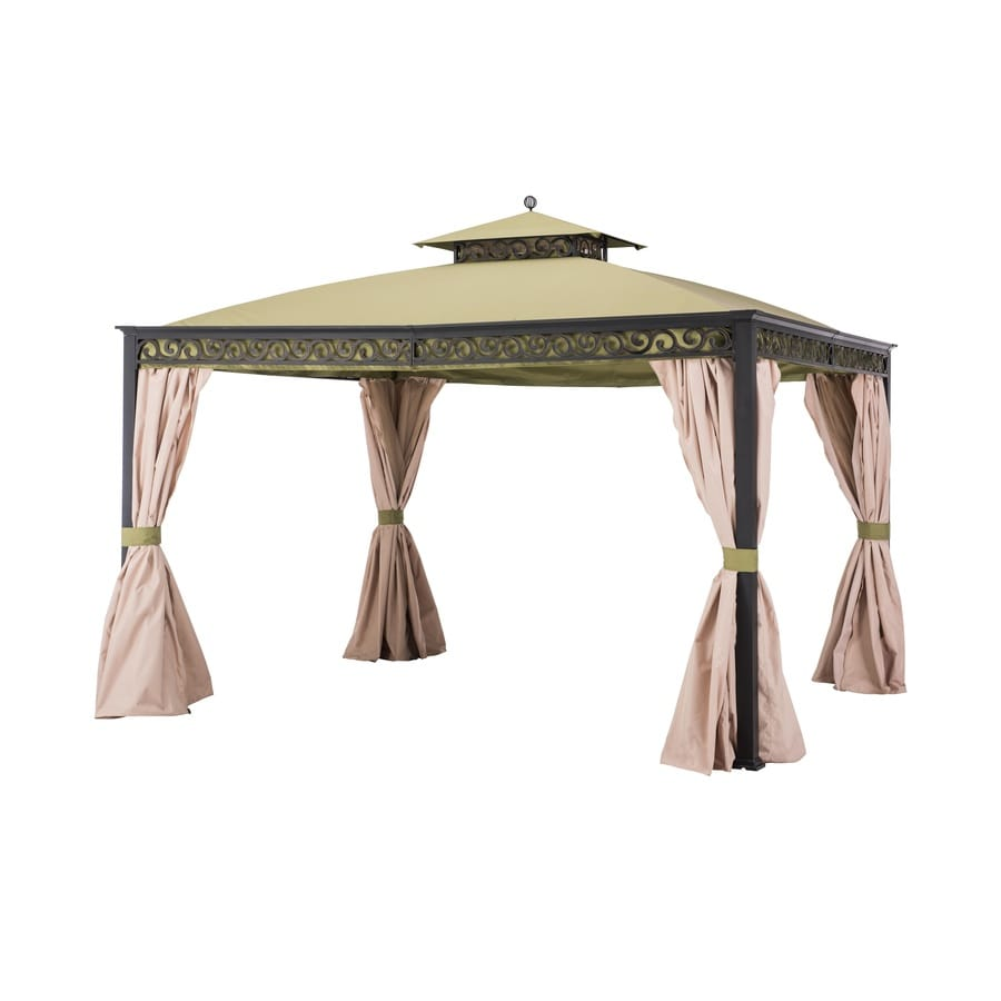 Sunjoy Green, Beige Aluminum Rectangle Permanent Gazebo (Exterior: 10-ft x 12-ft; Foundation: 10-ft x 12-ft)