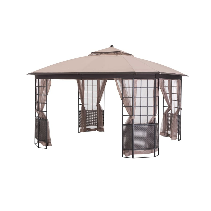 Sunjoy Beige Steel Square Permanent Gazebo (Exterior: 12-ft x 12-ft; Foundation: 12-ft x 12-ft)