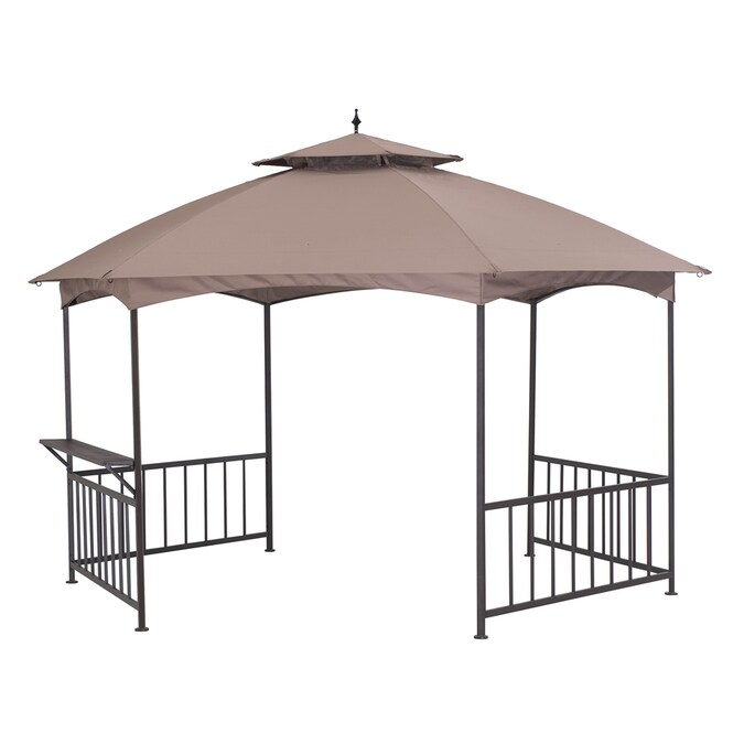 Sunjoy Brown Metal Hexagon Semi Permanent Gazebo Exterior 13 2 Ft X 6 6 Ft Foundation 11 4 Ft X 13 2 Ft In The Gazebos Department At Lowes Com