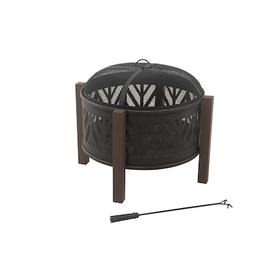 31 In W Black With Golden Brush Steel Wood Burning Fire Pit