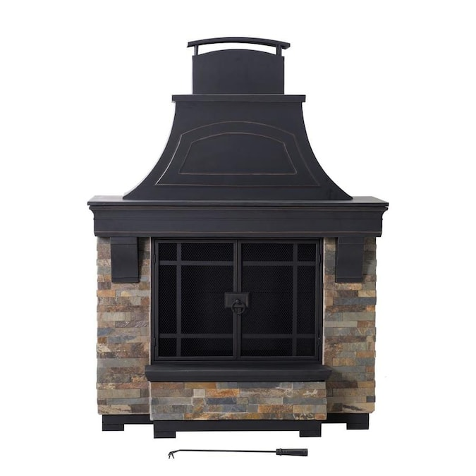 Sunjoy Black With Brown Accents Steel Outdoor Wood Burning