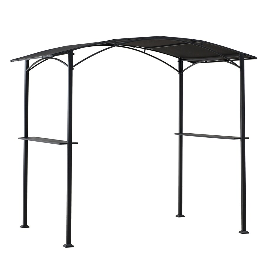 Sunjoy Black Metal Rectangle Grill Gazebo Exterior 6 8 Ft X 5 Ft Foundation 5 Ft X 8 Ft In The Gazebos Department At Lowes Com