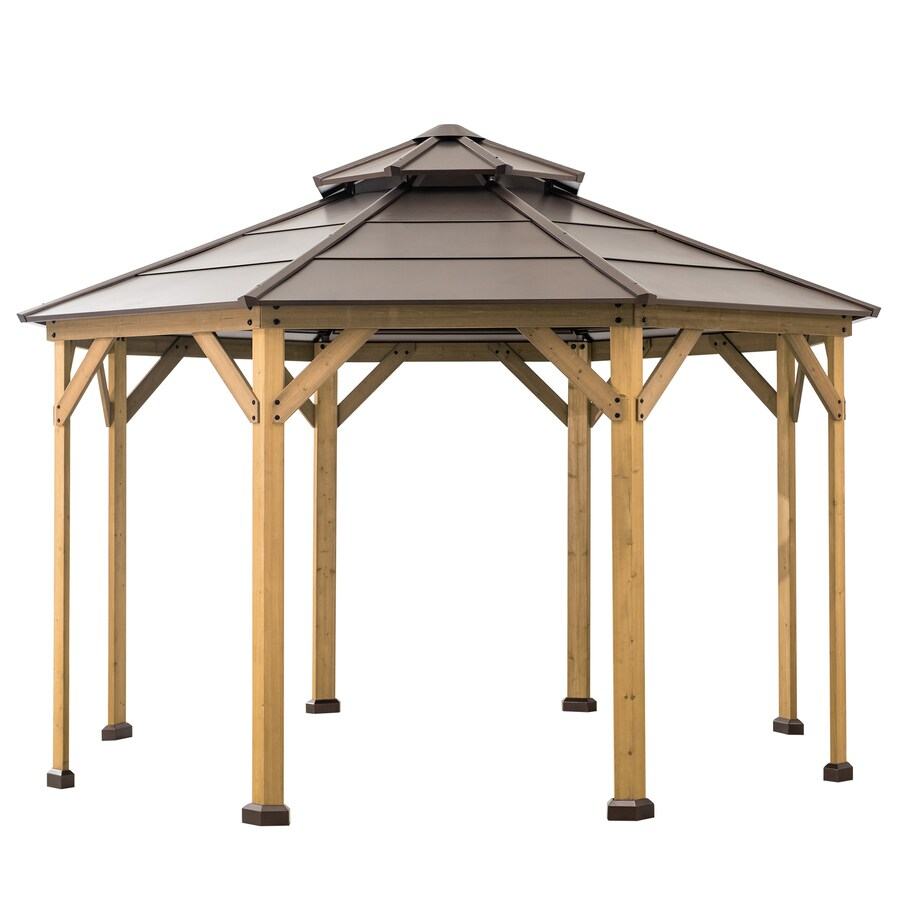 Sunjoy Copper Wood Octagon Gazebo Exterior 12 Ft X 12 Ft Foundation 12 Ft X 12 Ft In The Gazebos Department At Lowes Com