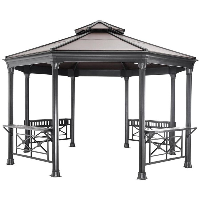 Sunjoy Copper Metal Octagon Gazebo Exterior 12 8 Ft X 12 8 Ft Foundation 13 Ft X 13 Ft In The Gazebos Department At Lowes Com
