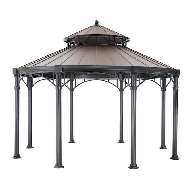 Sunjoy Copper Metal Octagon Gazebo Exterior 14 3 Ft X 14 3 Ft Foundation 14 Ft X 14 Ft In The Gazebos Department At Lowes Com
