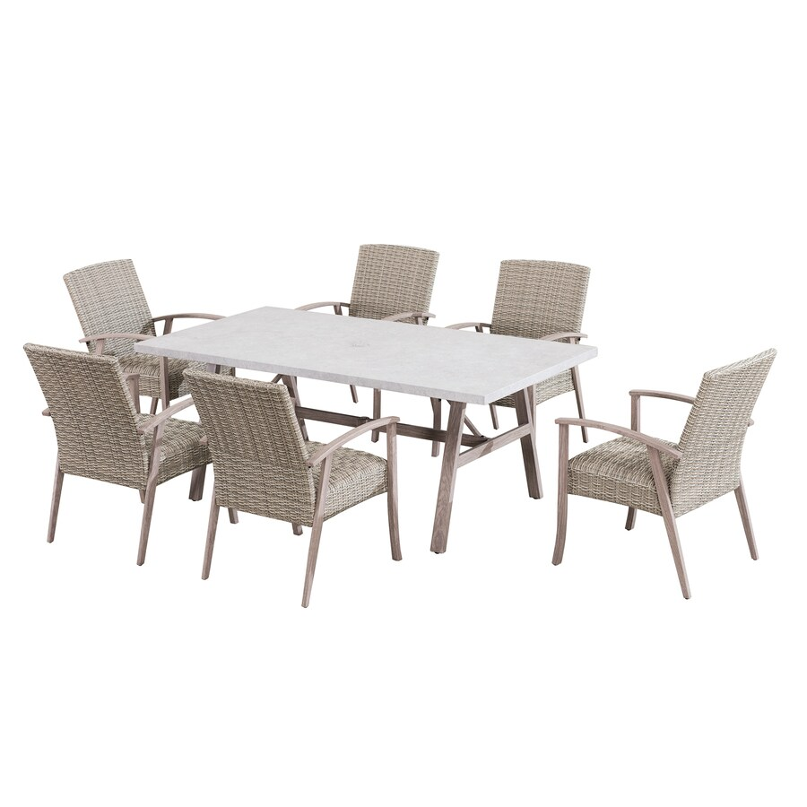 Sunjoy 7 Piece Brown Frame Patio Set With Cushions In The Patio Dining Sets Department At Lowes Com