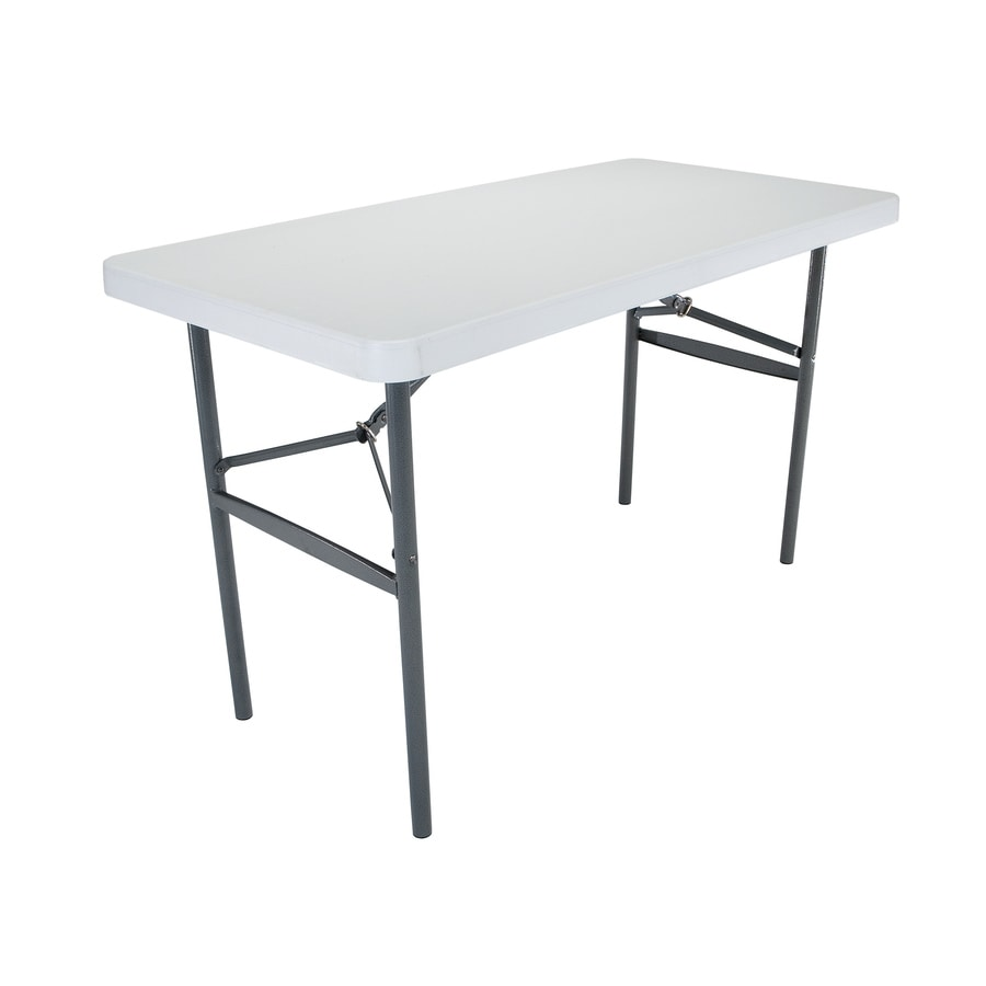 LIFETIME PRODUCTS 48 In X 24 In Rectangle Steel Putty N Folding Table