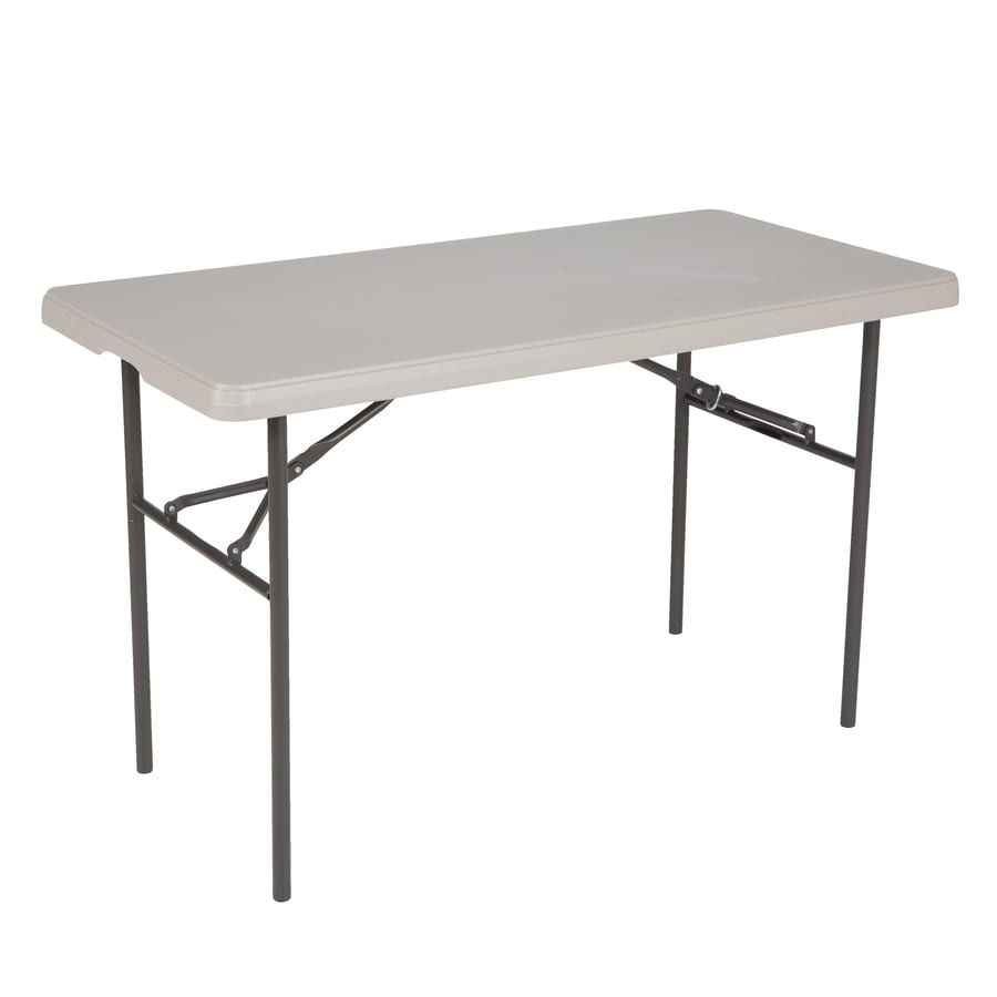 Shop LIFETIME PRODUCTS 48-in x 24-in Rectangle Steel Putty Folding Table at Lowes.com