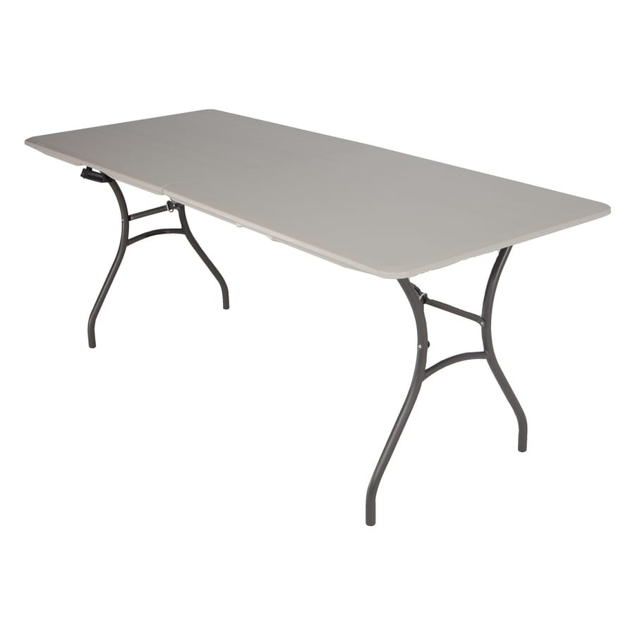 LIFETIME PRODUCTS 72-in x 30-in Rectangle Steel Putty Folding Table
