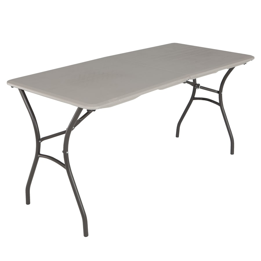 LIFETIME PRODUCTS 60-in x 27.5-in Rectangle Steel Putty Folding Table