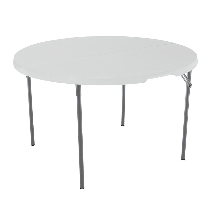 LIFETIME PRODUCTS 48-in x 48-in Circle Steel White Granite Folding Table