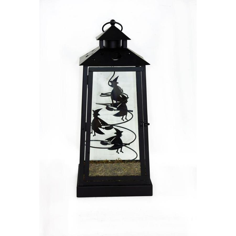 Holiday 8.25-in x 18.25-in Black Metal Led Light Outdoor Decorative Lantern