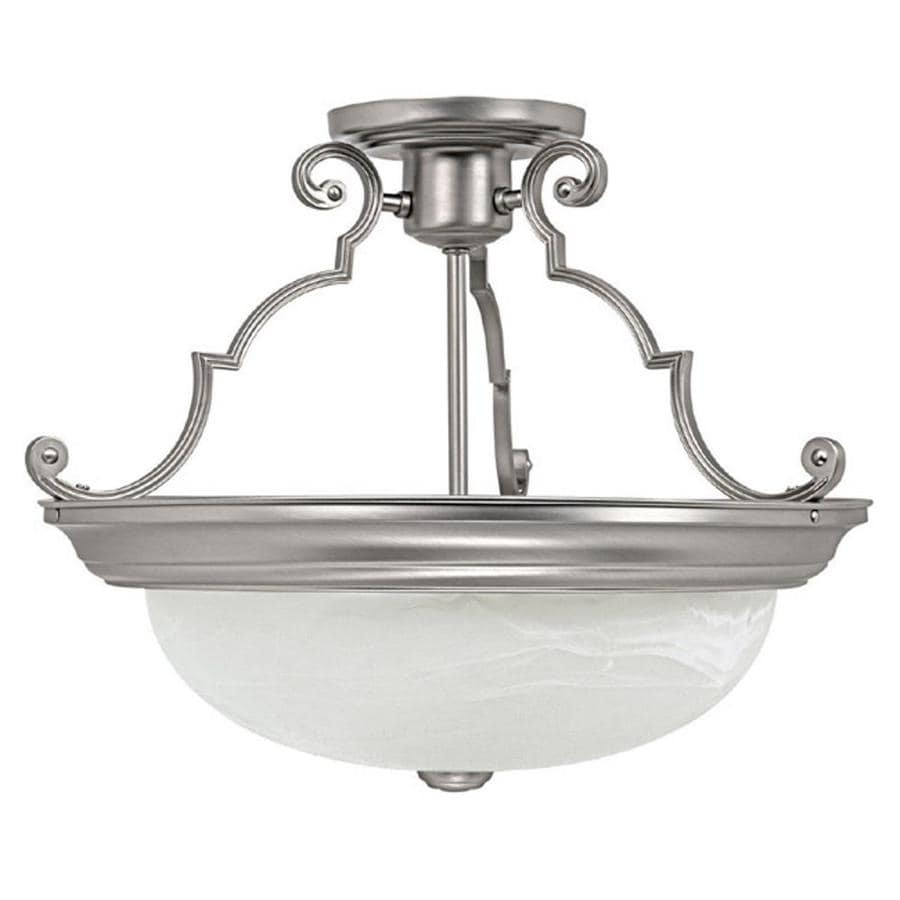 Century 15-in W Matte Nickel Alabaster Glass Semi-Flush Mount Light