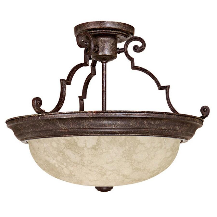 Century 15-in W Tortoise Textured Semi-Flush Mount Light