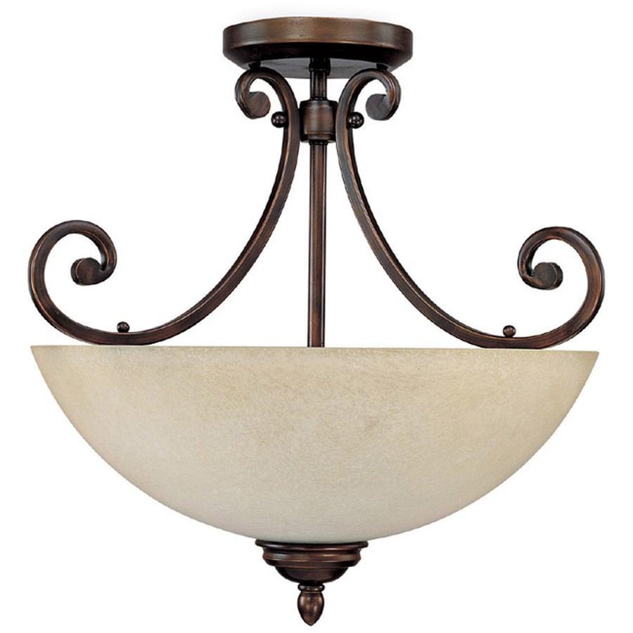 Century 17.25-in W Burnished Bronze Textured Semi-Flush Mount Light