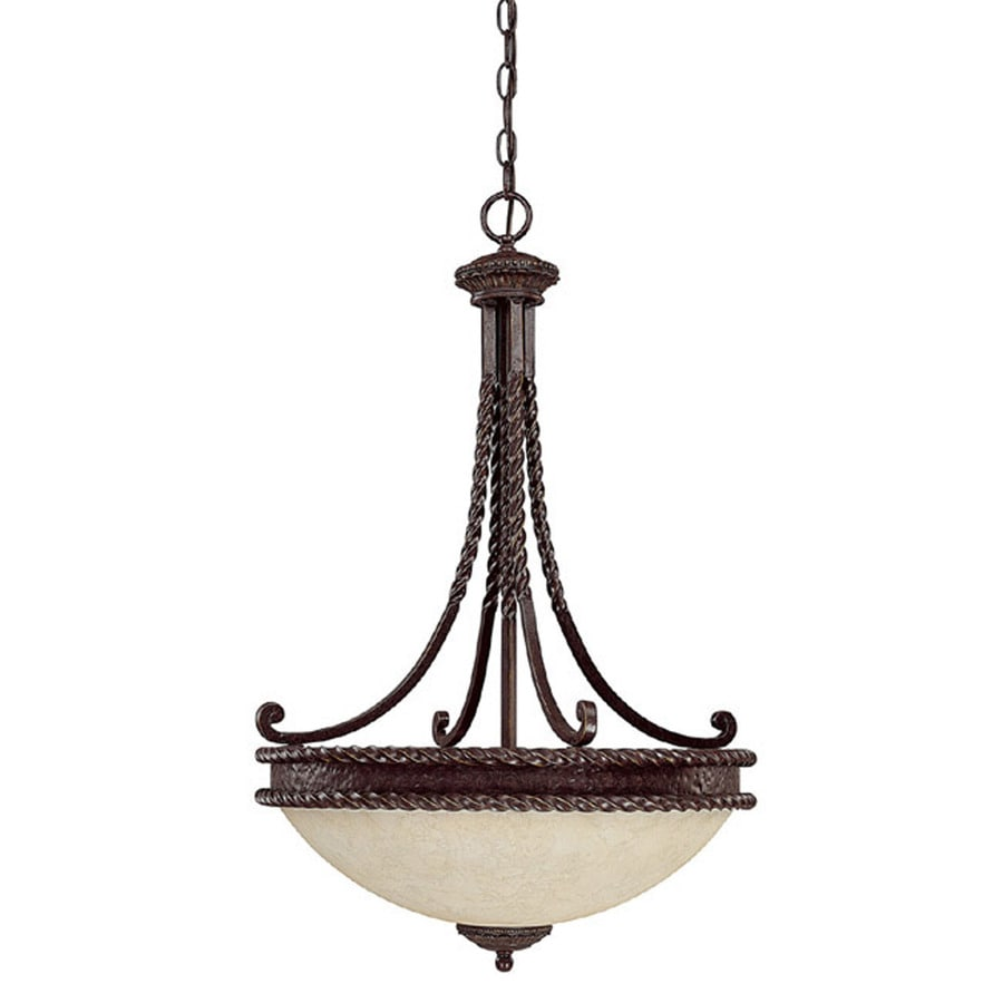 Century 19.5-in Weather Brown Single Textured Glass Pendant