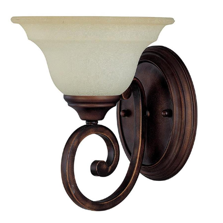 Century 8-in W 1-Light Burnished Bronze Arm Hardwired Wall Sconce