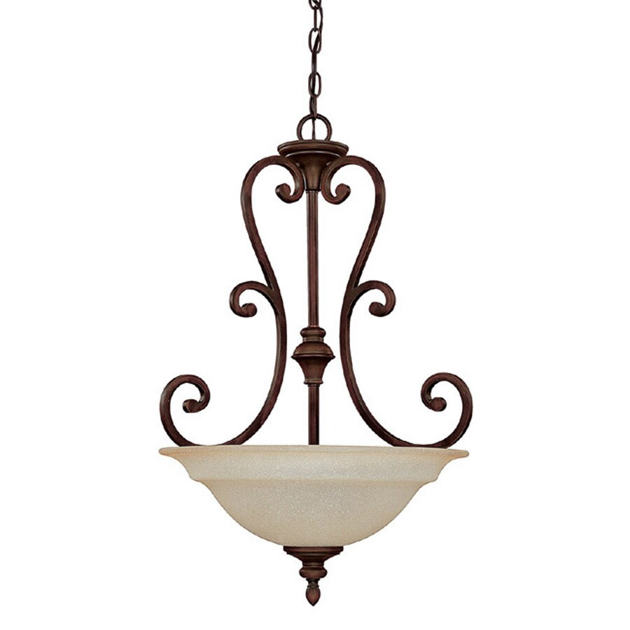 Century 20-in Burnished Bronze Single Textured Glass Pendant