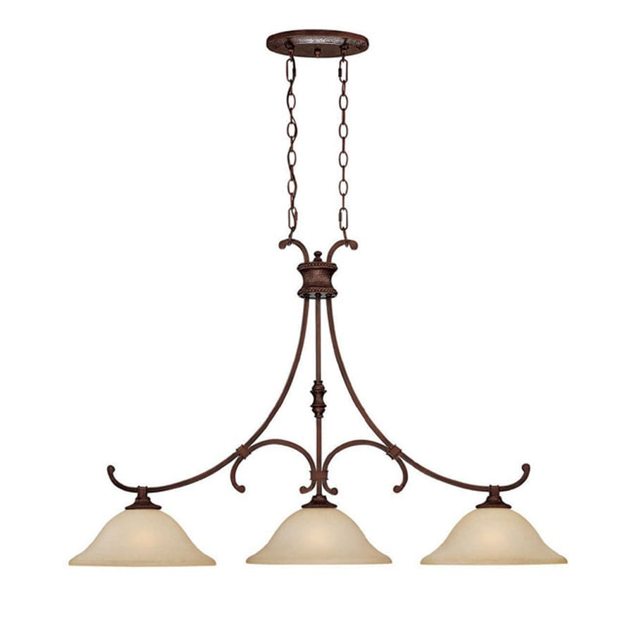 Century 45-in Burnished Bronze Single Tinted Glass Pendant