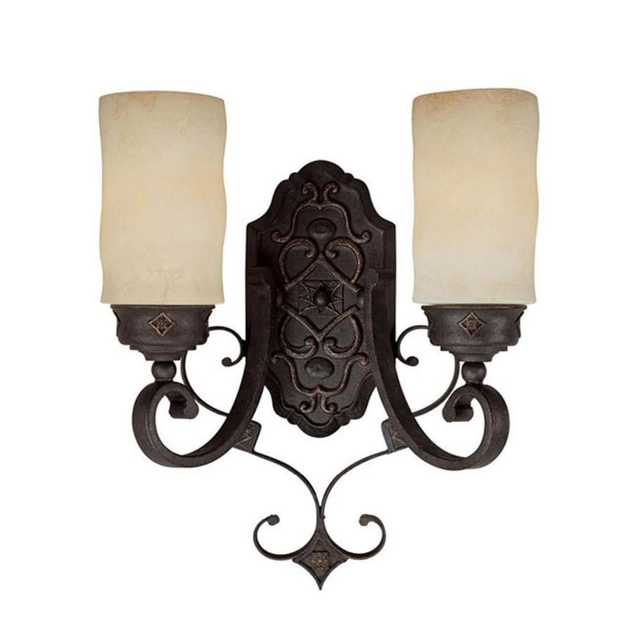 Rustic Wall Sconces Lowes : Shop Century 13-in W 2-Light Rustic iron Arm Wall Sconce at Lowes.com