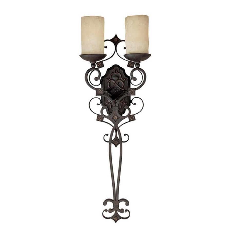 Century 11.5-in W 2-Light Rustic Iron Arm Wall Sconce