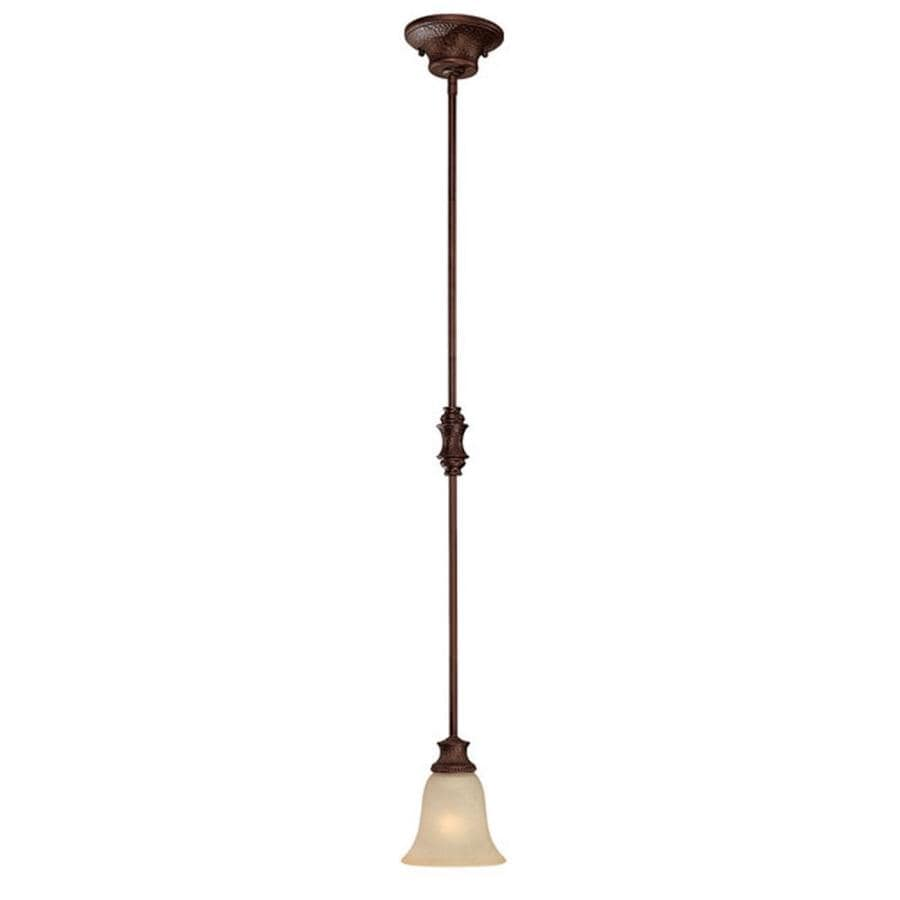 Century 6-in Burnished Bronze Single Textured Glass Pendant
