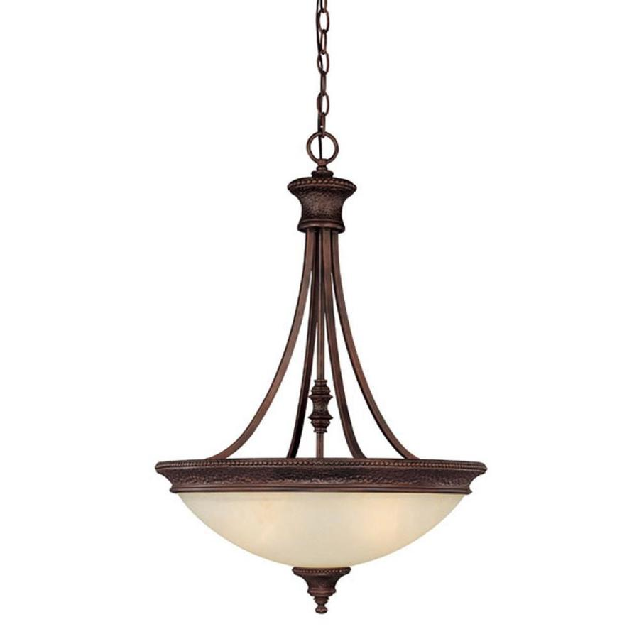 Century 21-in Burnished Bronze Single Textured Glass Pendant