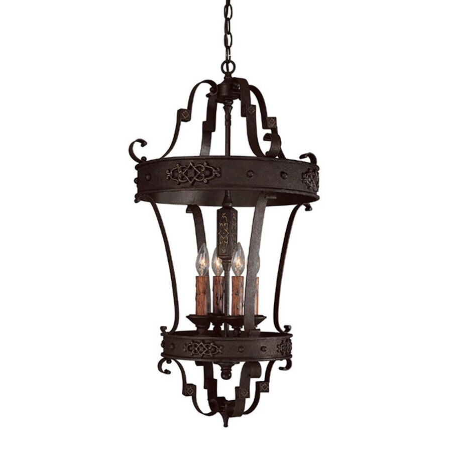 Century 18.5-in Rustic Iron Single Tinted Glass Pendant
