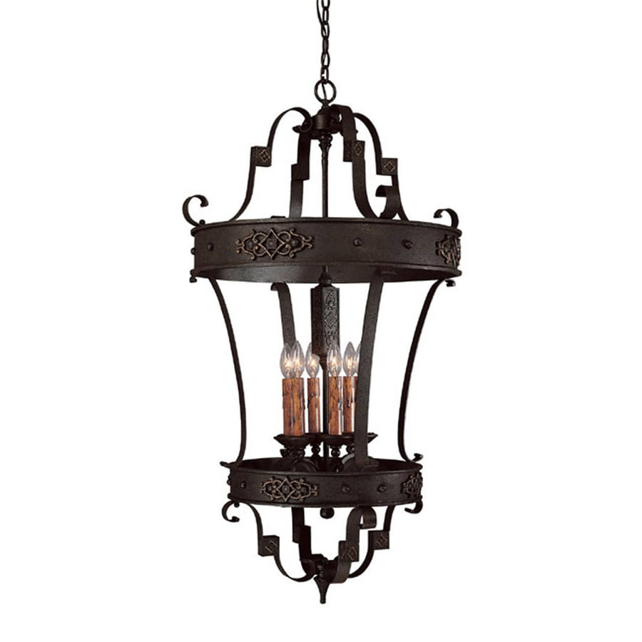 Century 25-in Rustic Iron Single Tinted Glass Pendant