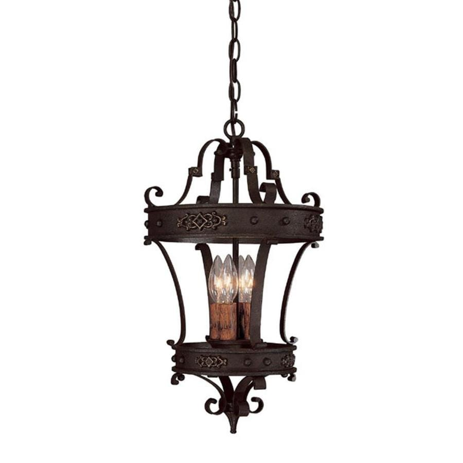 Century 12-in Rustic Iron Single Tinted Glass Pendant