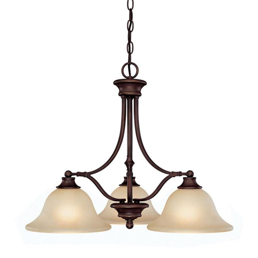 Century 25.5-in Burnished Bronze Single Tinted Glass Pendant