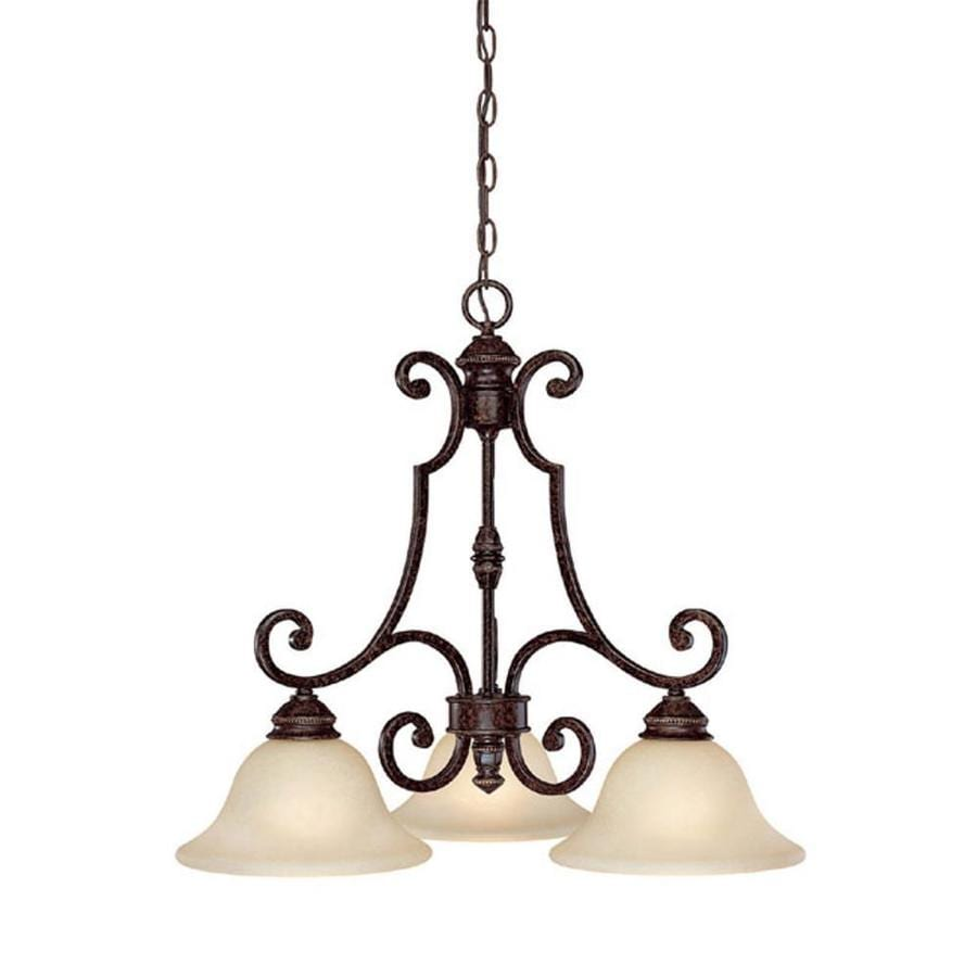Century 25.75-in Chesterfield Brown Single Tinted Glass Pendant