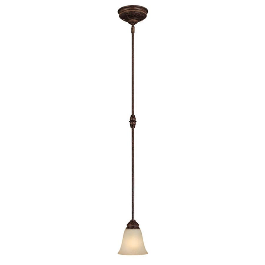 Century 6-in Chesterfield Brown Single Textured Glass Pendant