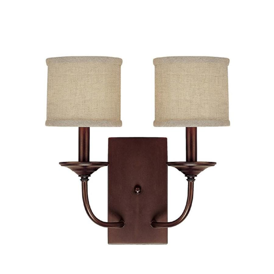 Century 14-in W 2-Light Burnished Bronze Arm Wall Sconce