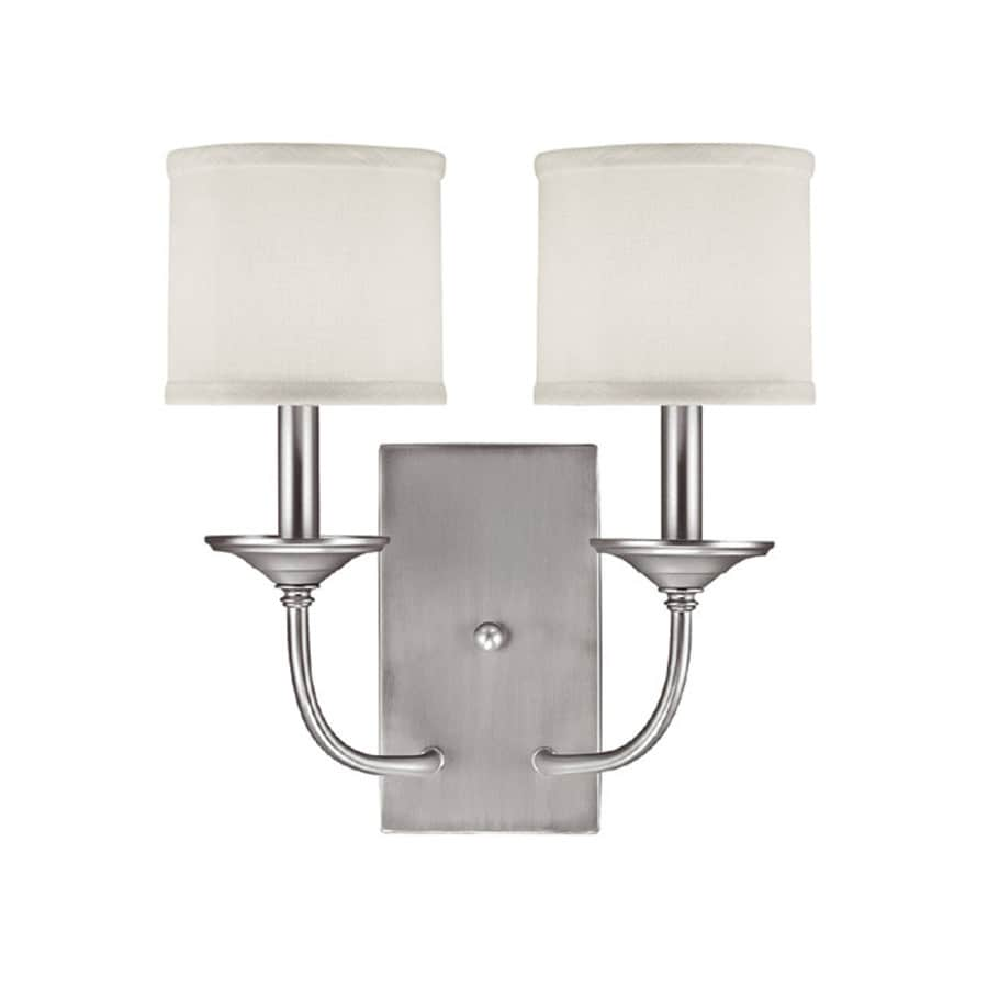 Century 14-in W 2-Light Matte Nickel Arm Wall Sconce