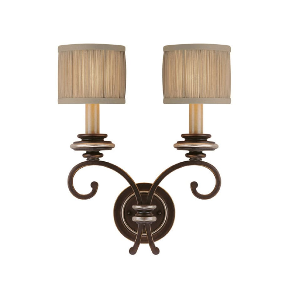 Century 15-in W 2-Light Champagne Bronze Arm Wall Sconce