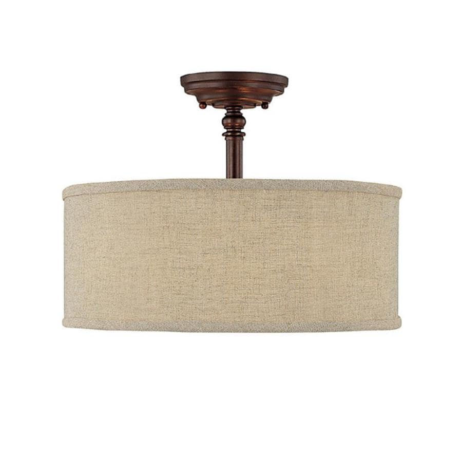 Century 15-in W Burnished Bronze Fabric Semi-Flush Mount Light