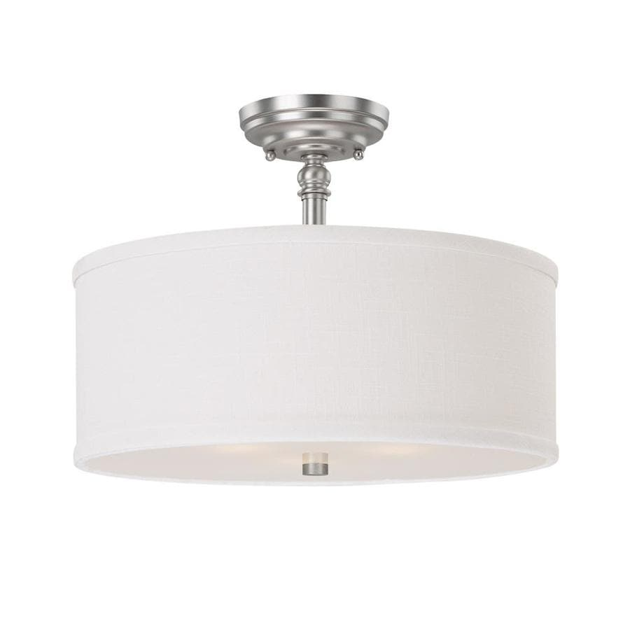 Century 15-in W Matte Nickel Fabric Semi-Flush Mount Light