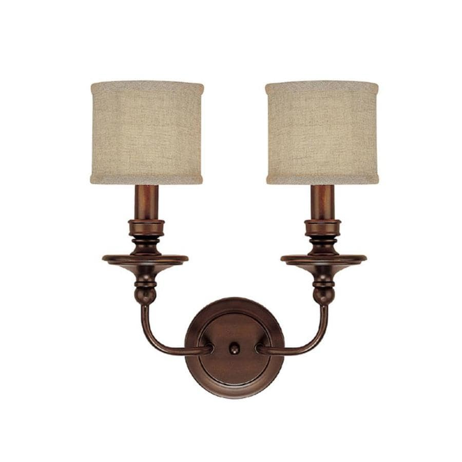 Century 15-in W 2-Light Burnished Bronze Arm Hardwired Wall Sconce